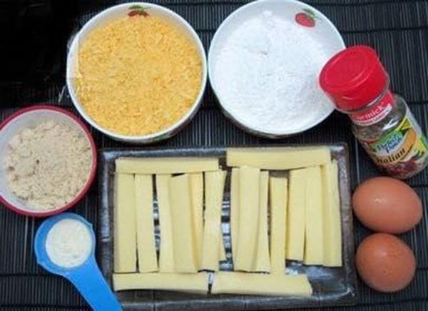 Nguyên liệu chuẩn bị làm món ăn vặt phô mai que