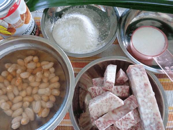 Nguyên liệu để nấu chè đậu trắng khoai môn